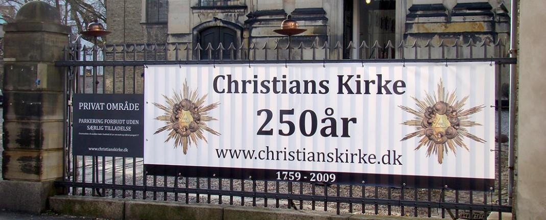 Reklame banner for Christians kirke